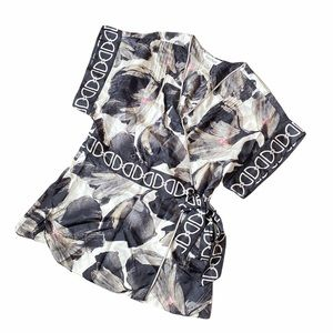 WHBM | Floral Silk Tie Waist Wrap Top